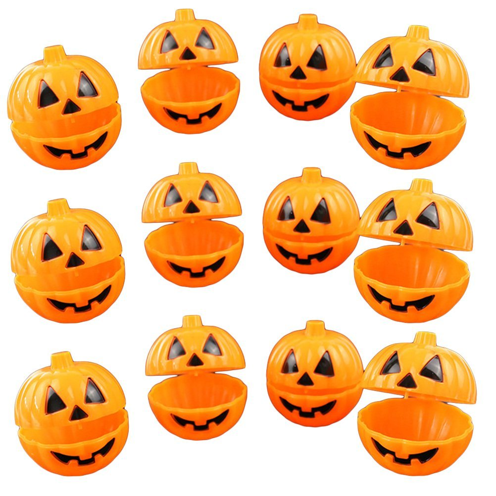 Tinksky Plastic Pumpkin Shaped Storage Box Case Container Halloween Mini Gift Holder Props 12pcs (Yellow)