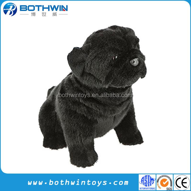 Black Pug Dog Stuffed Animal Sitting Soft Plush Toy Buy Black Pug