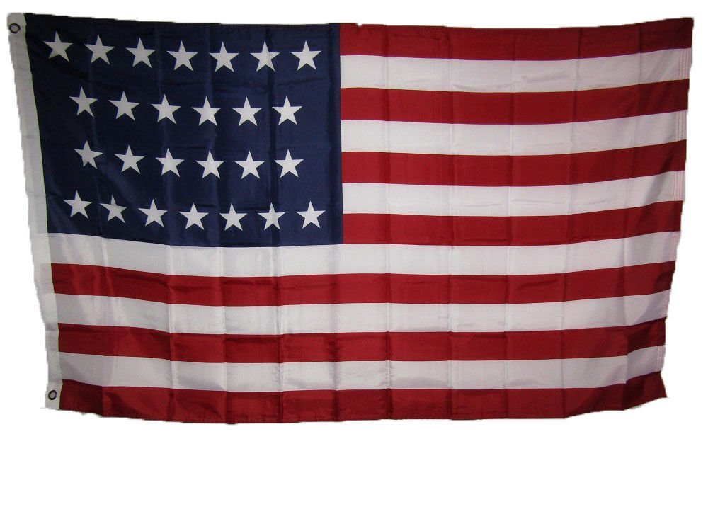 3x5 USA American 26 Star Linear 1837 1845 Historical Flag 3'x5' Banner Grommets 4 Rows Sewing Fly End Canvas Header UV-Resistant