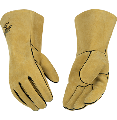 New Split Leather Safety Yellow Work Gloves With Cotton Back One Size Fits Most
