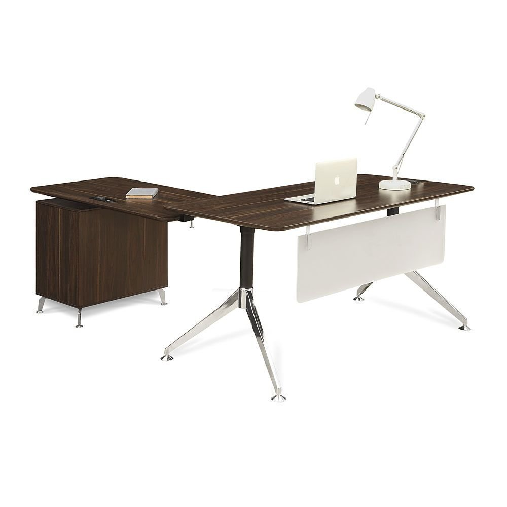 """Two-Tier L-Desk with Reversible Return - 60""""W Dark Walnut Laminate Top/Acrylic Modesty Panel/Black and Chromed Aluminum Leg Dimensions: 60""""W x 78""""D x 30""""H Weight: 174 lbs."""