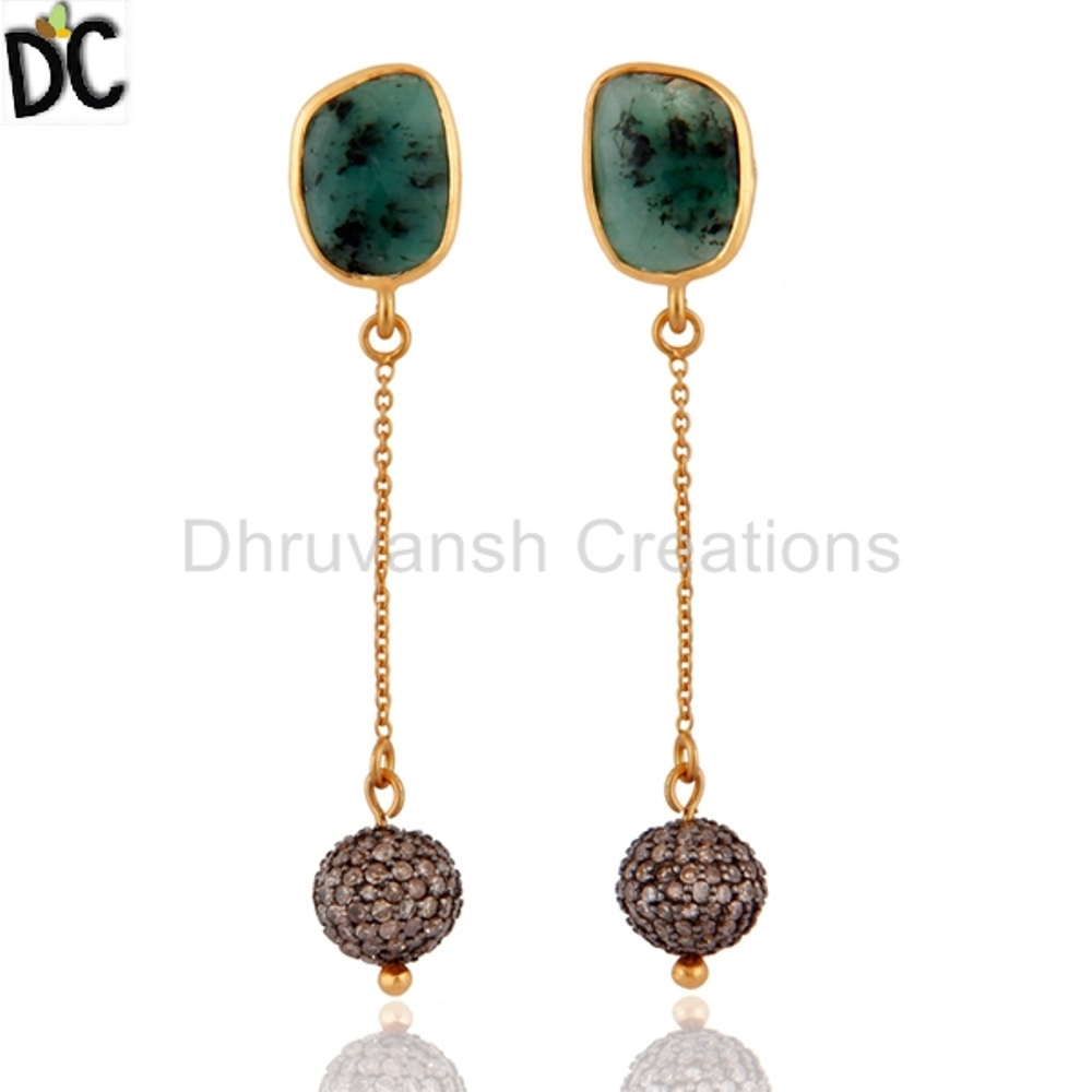Emerald and Pave Diamond Earrings 925 Silver Gold Plated Chain Dangle Earring Jewelry Supplier