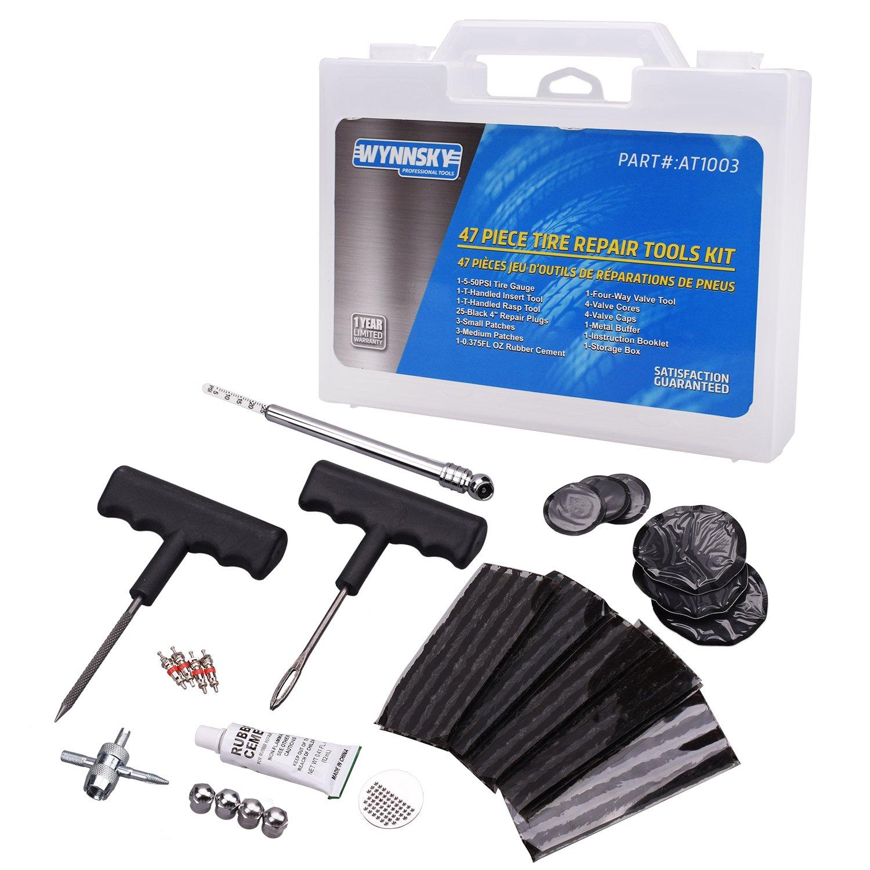 WYNNsky Tire Repair Kit, 47 Pieces T-Handle Tire Repair Plugs Kit with Tire Gauge, Plug Strips And Patches, Bike, Bicycle,Motorcycle Tire Repair Tool Kit