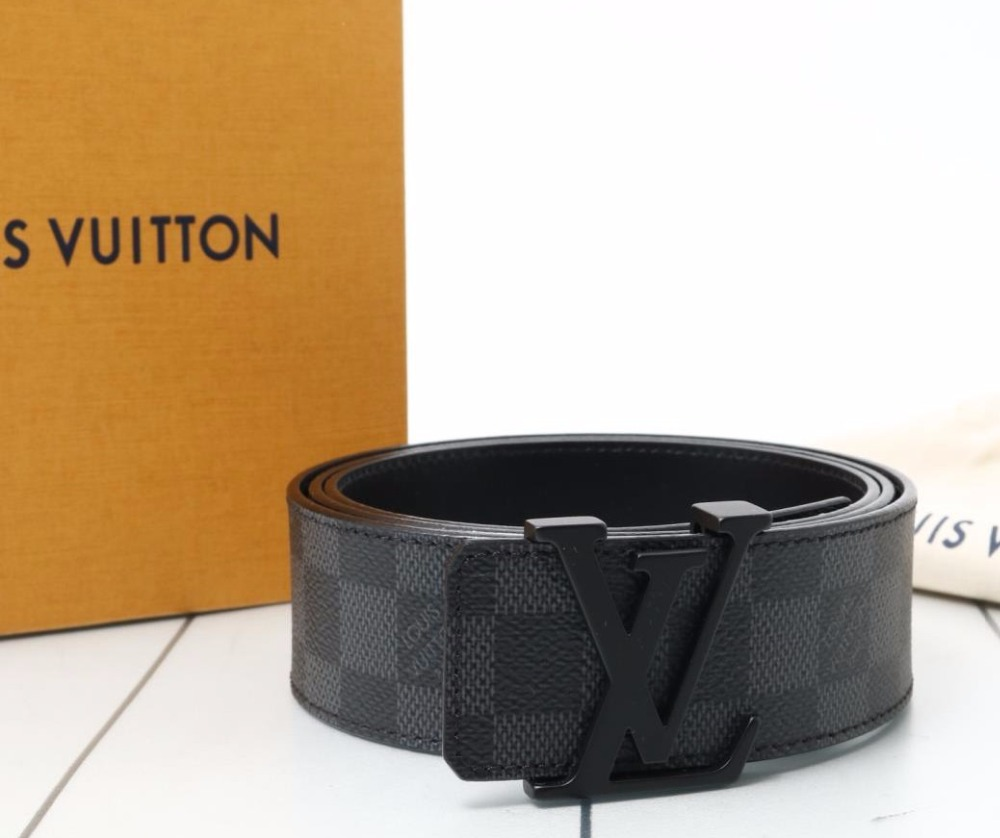 5a35aa430ad6 Used original Brand LOUIS VUITTON M9808 Damier Graphite Leather Belt for  bulk sale.