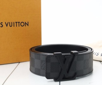 5a35aa430ad6 Used original Brand LOUIS VUITTON M9808 Damier Graphite Leather Belt for  bulk sale.