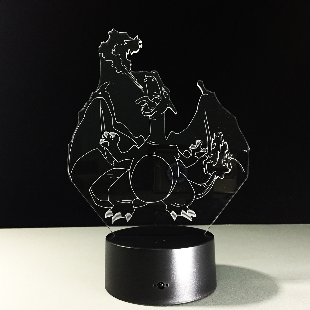 Pokemon Go Mega Collectible Pikachu Charizard Dragonite Illusion LED Night  Light Colorful Flash Anime Lamp For