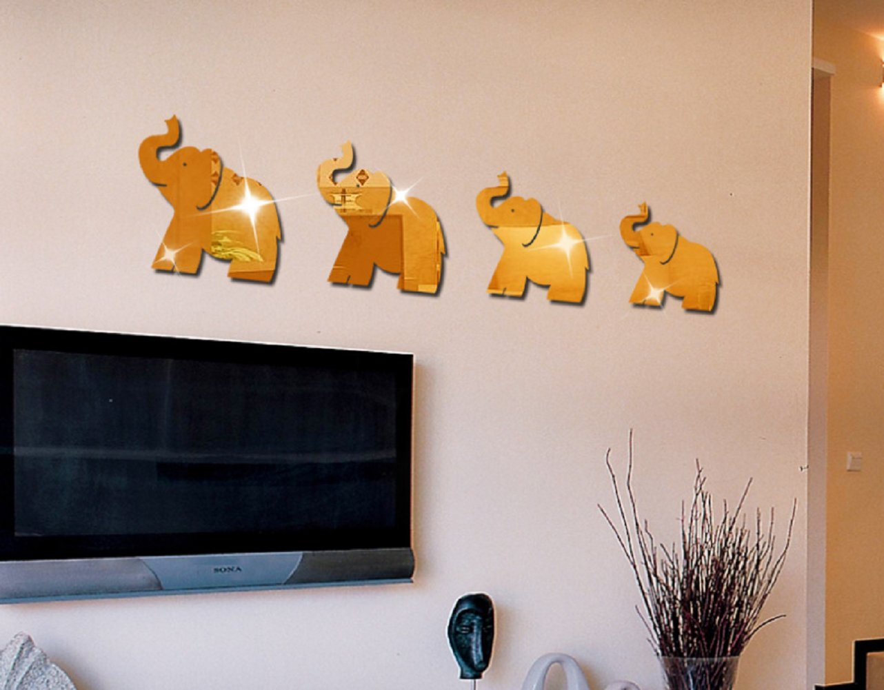 Revesun Golden 4 X Elephants Elephant 3D Stereo Acrylic Mirror Wall Stickers Children Cartoon Room Crystal Three-dimensional Mirror Decorative Wall Stickers Elephant