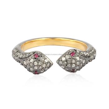 8ba6cfb82e92 Ojos de rubí diamante pavimenta anillo de serpiente de plata de ley 925  fabricante de joyas