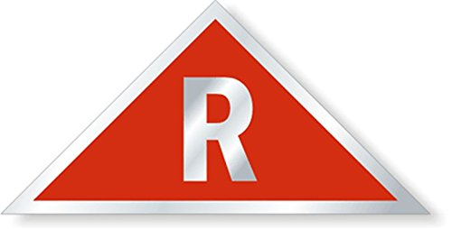 "SmartSign 3M High Intensity Grade Reflective Sign, Legend ""R Triangular"", 6"" tall x 12"" across triangle, White on Red"