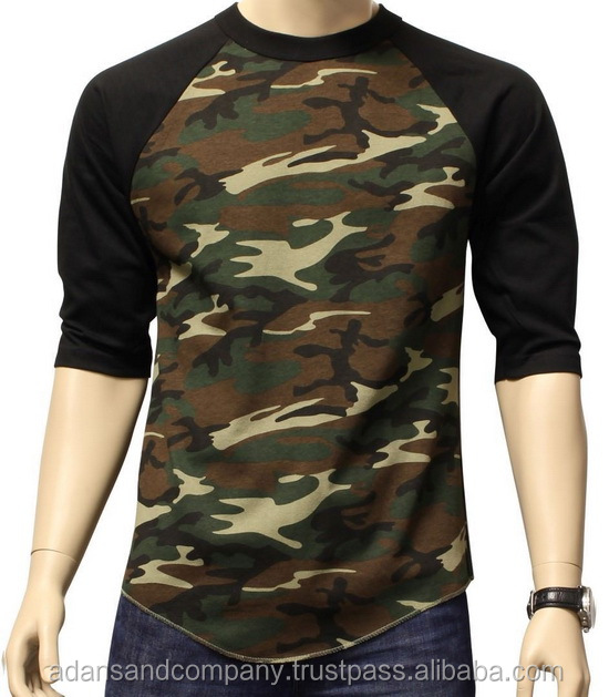 Raglan 3/4 Mouw baseball Stijl Militaire Camouflage Sport T-shirt