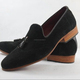 New Handmade mens black suede leather moccasins, Men formal suede black shoes