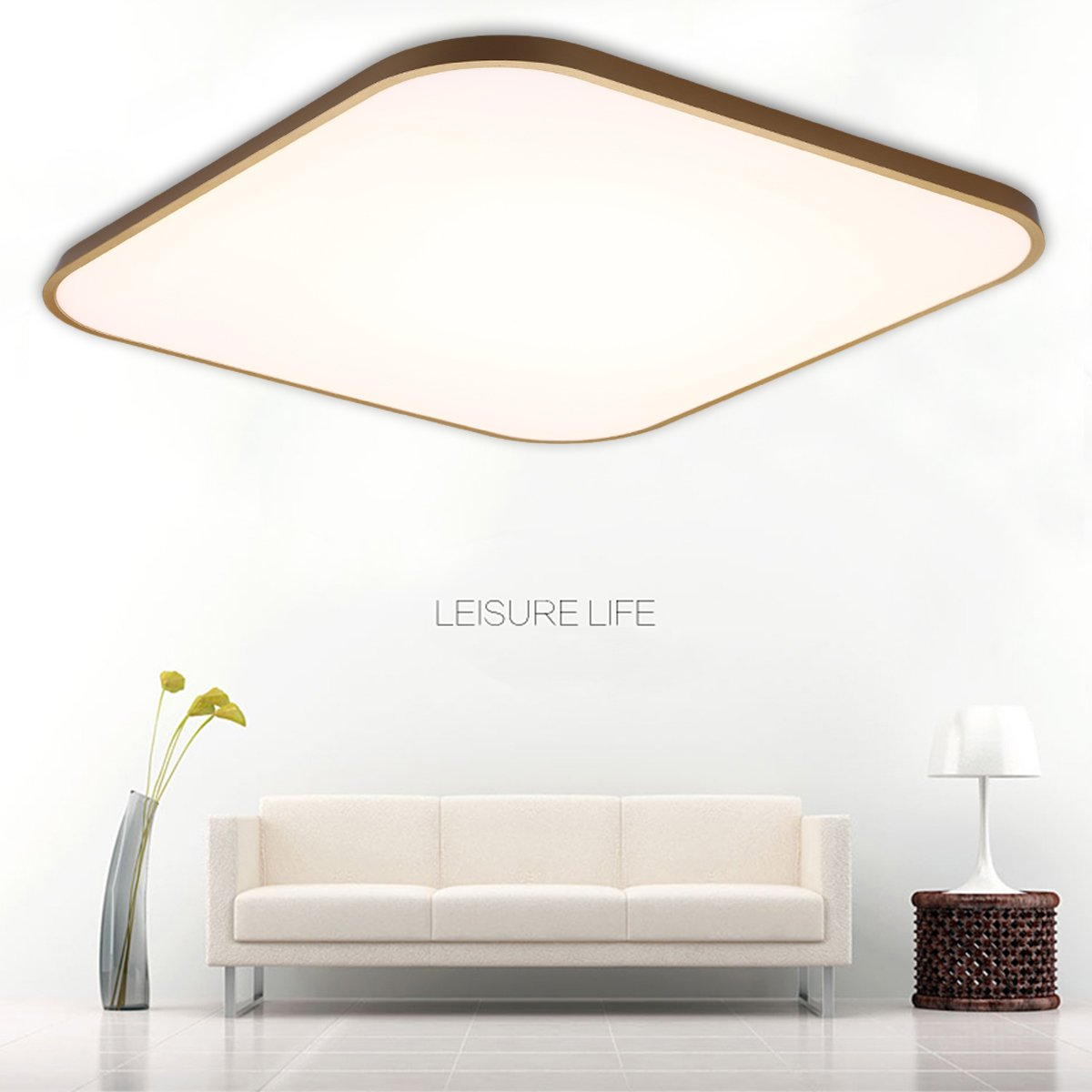 FLOUREON 24 ~ 29.5 Inch Ultra-thin Flush Mount LED Ceiling Light Modern Home Ceiling Light Fixture Flush Mount Chandeliers Lighting with 2.4G Wireless Remote Control Infinite Dimming (24W, Golden)