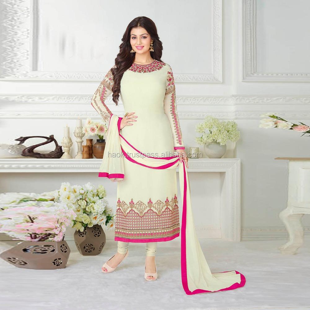 827145394f Designer Punjabi suit WHITE Colour Embroidery Unstitched Dress Material