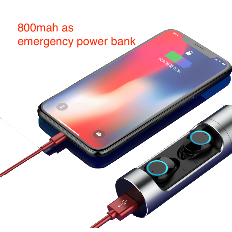Bluetooth 5.0 fone de ouvido fone de ouvido com caixa de carga