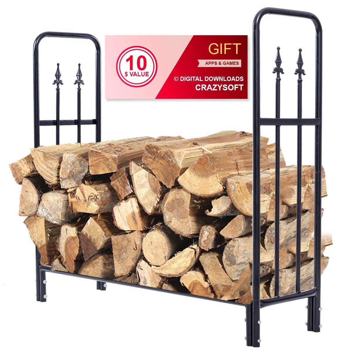 4' Outdoor Heavy Duty Steel Firewood Wood Storage Rack - By Choice Products