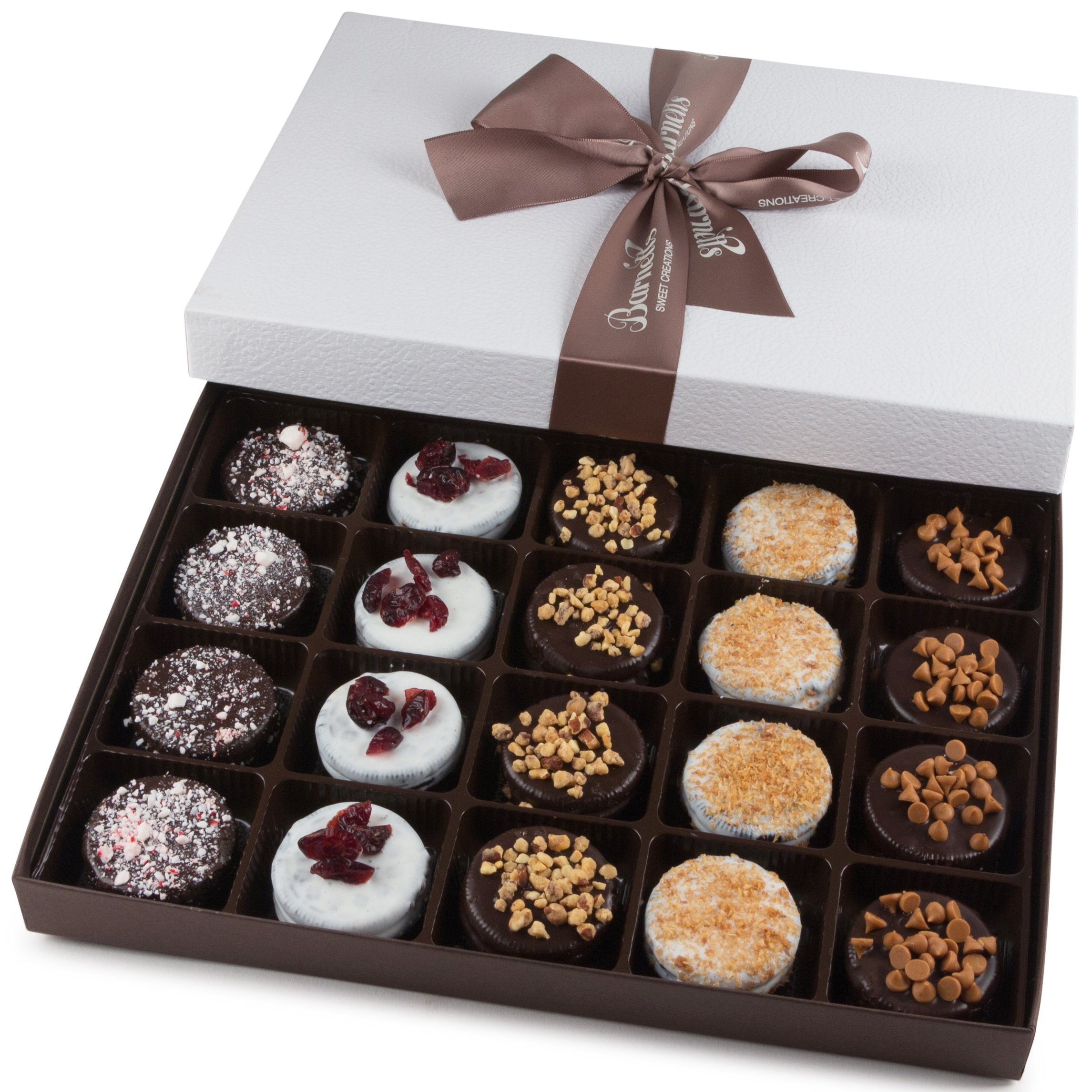 Barnett's Holiday Gift Basket - Elegant Chocolate Covered Sandwich Cookies Gift Box - Unique Gourmet Food Gifts Idea For Men, Women, Birthday, Corporate, Mothers Day or Valentines Baskets for Her