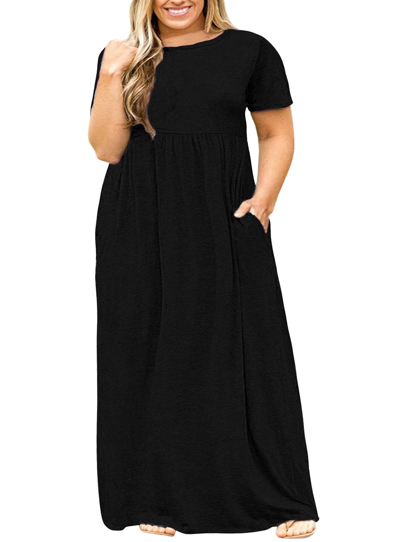 027cc8e62 Nemidor Women Short Sleeve Loose Plain Casual Plus Size Long Maxi Dress  with Pockets