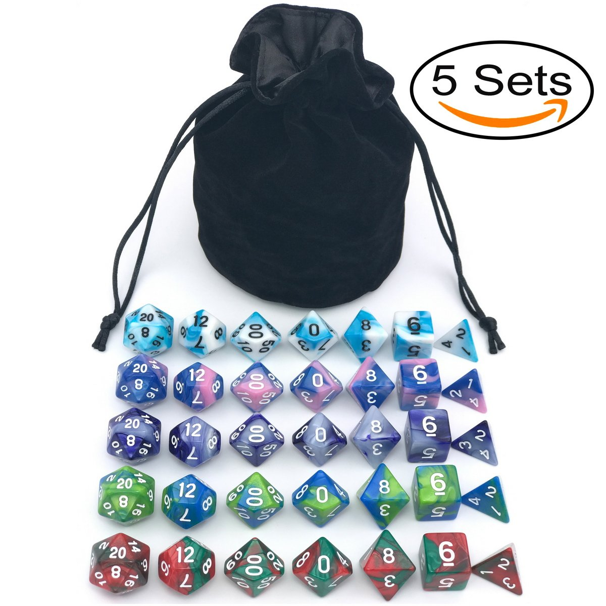 Dice Set for Dungeons&Dragons, DnD, RPG Games, Polyhedral Dice Set, Assorted Dice Set, 35 Total, 5 Sets with drawstring dice pouch