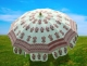 Indian floral hand block printed sun shade umbrella garden steel pole UV protection outdoor patio parasol