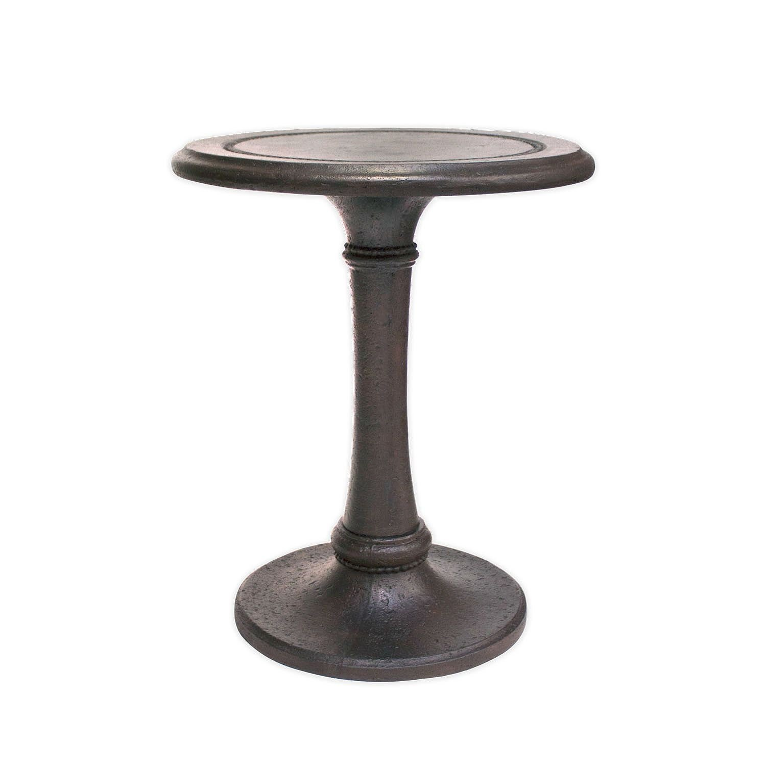 Mactan Cast Stone Patio Accent Side Table/ Plant Stand in Warm Cocoa