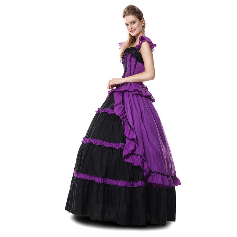GUERRA CIVIL traje de baile vestido púrpura negro satén M XL con aro ...