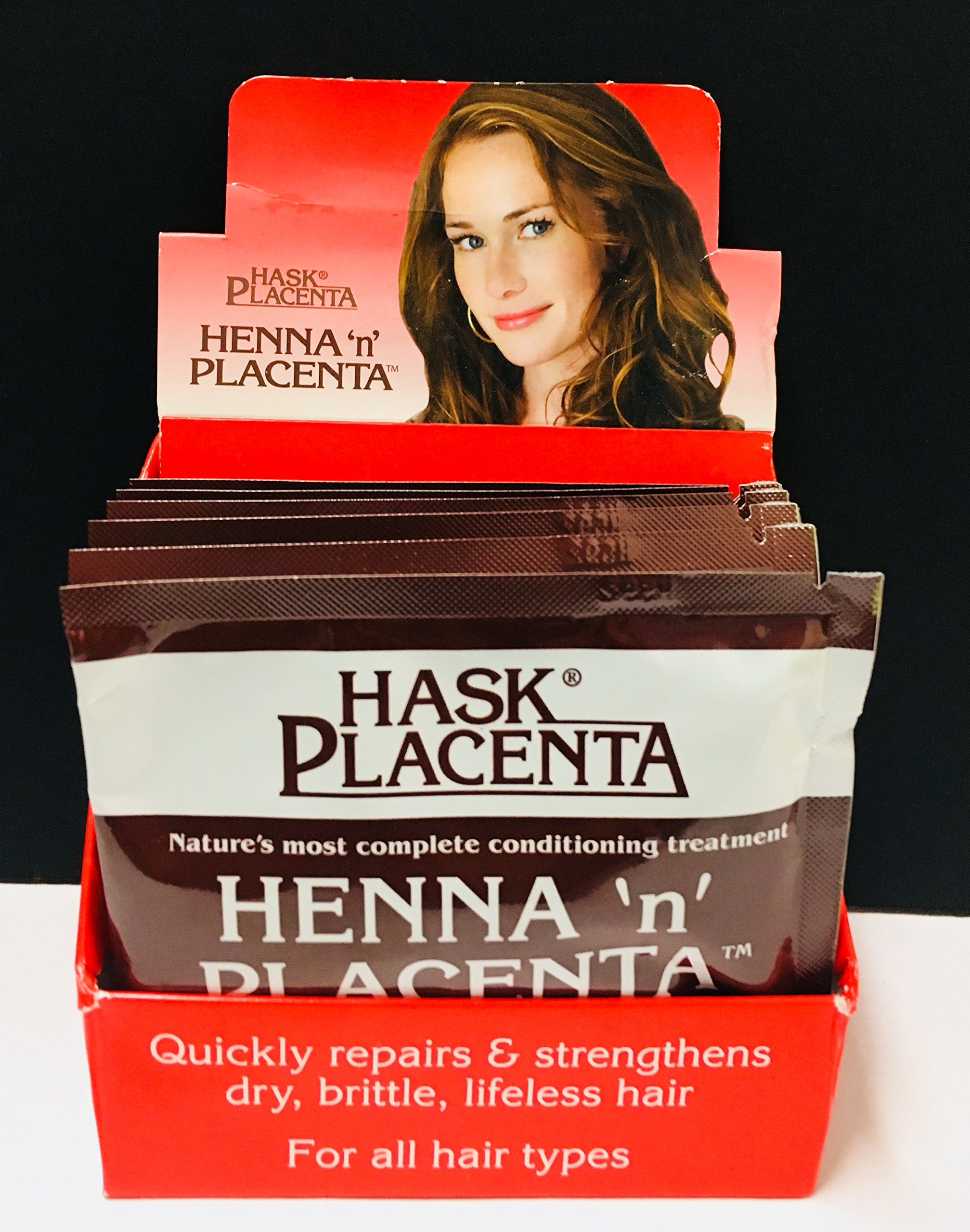 Hask Placenta Henna 'N' Placenta Conditioning Treatment,Quickly Repair & Strengthens Dry,Brittle, Lifeless Hair ( Display of 6 Pks 2oz Eack. Pack.)