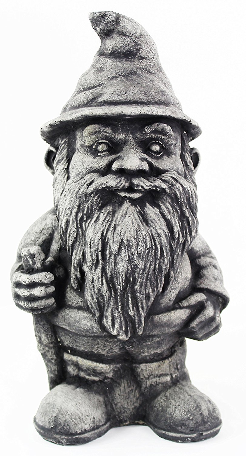 Hiking Gnome Concrete Statue