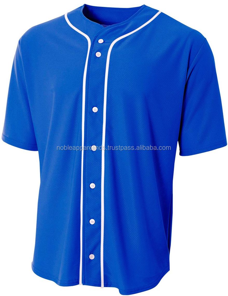 Sublimation Button Color Blue Baseball T Shirt Custom Baseball