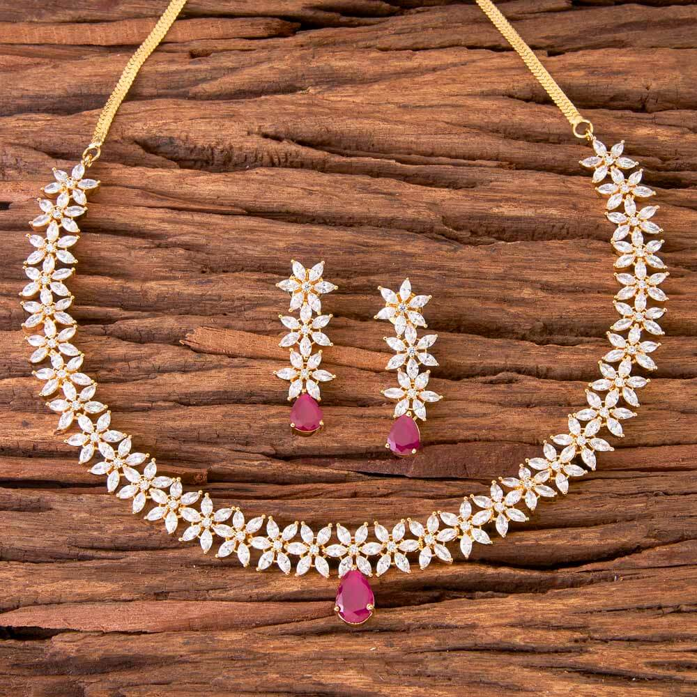 classic necklace set with gold plated jewelry 58612 Ruby