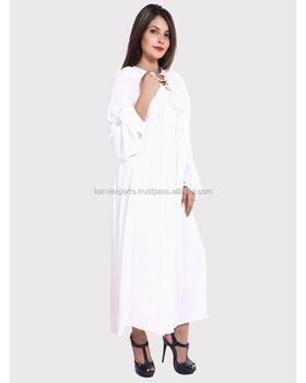 9a8ccbcb19 2017 design rayon dress white color long sleeve plain long maxi gown Casual  design girls wear