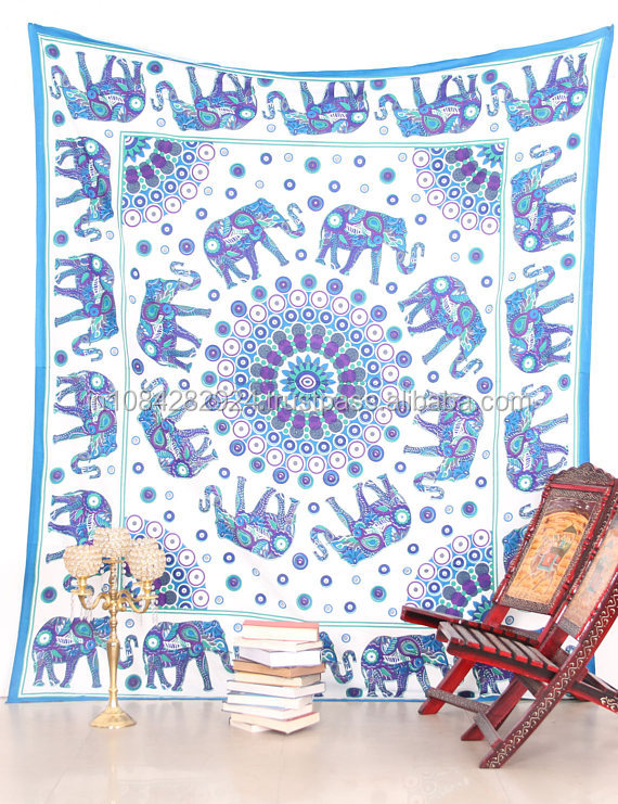 New Elephant mandala tapestry indian wall hanging fabric cotton decor dorm tapestries cloth throw