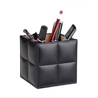 Office Accessory Desk Organizer Leather Pen Holder