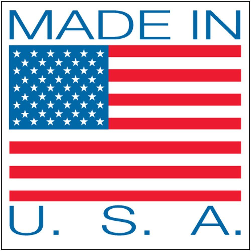 "Aviditi USA504 Patriotic Label, ""Made in U.S.A."", 4"" Length x 4"" Width, Red/Blue on White (Roll of 500)"