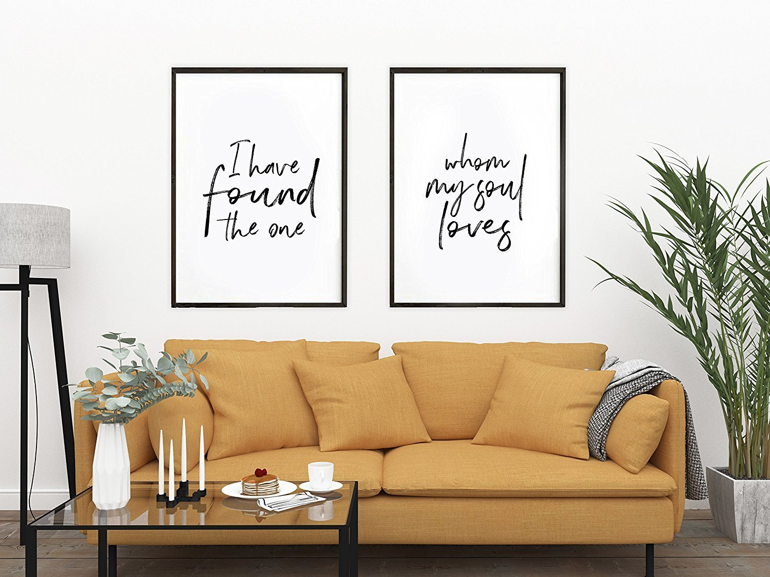 I Have Found The One Whom My Soul Loves / Set of 2 Prints / Song of Solomon 3:4 / Scripture Art / Above Bed Artwork / Large Prints / Love His And Hers Art (16 x 20 Inches)