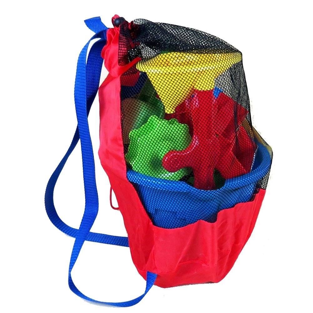 Youndcc Beach Bag, Beach Mesh Tote Bag, Toy Organizer, Extra Large Sand Away Beach Shell Storage Foldable bag (Toys not Included)