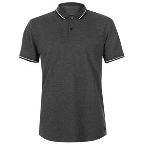 100% Cotton Charcoal Melange Bleached Polo T-shirt for Men