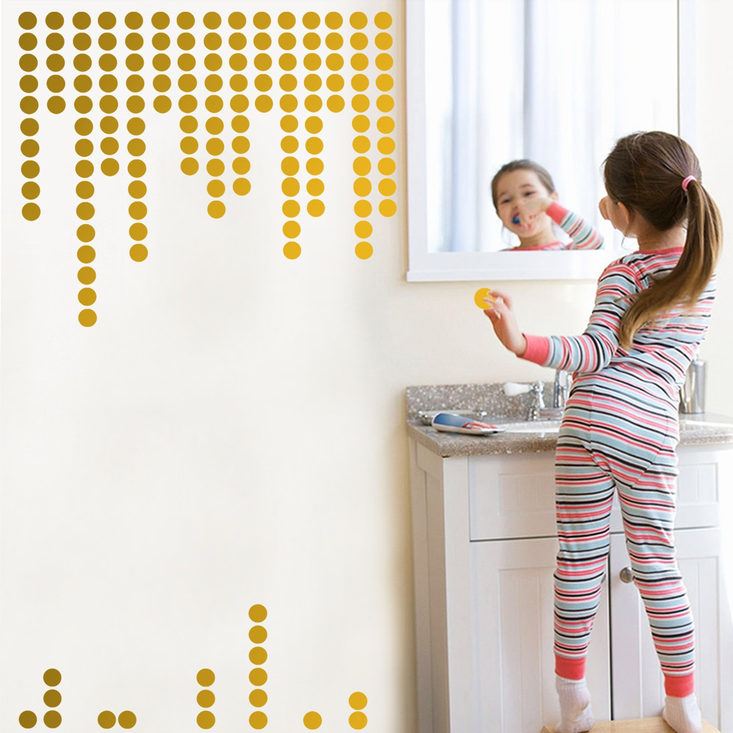 Gold Wall Decals Polka Dots Wall Stickers Vinyl Round Circle Art Stickers Removable Metallic Hanging Decor Decorations for Nursery Room ( 200 circles )