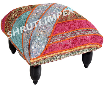 Groovy Handmade Vintage Recycle Fabric Upholstery Indian Foot Stool Buy Decorative Foot Stool Handmade Foot Stool Foot Stool Product On Alibaba Com Machost Co Dining Chair Design Ideas Machostcouk