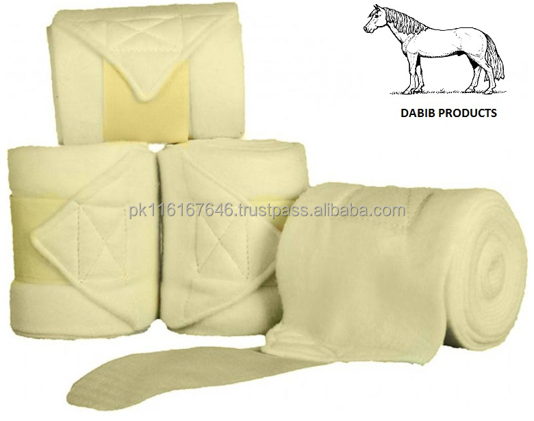 Paard Been Fleece Wraps Off White FPW-009 Bandages Paard Paardensport