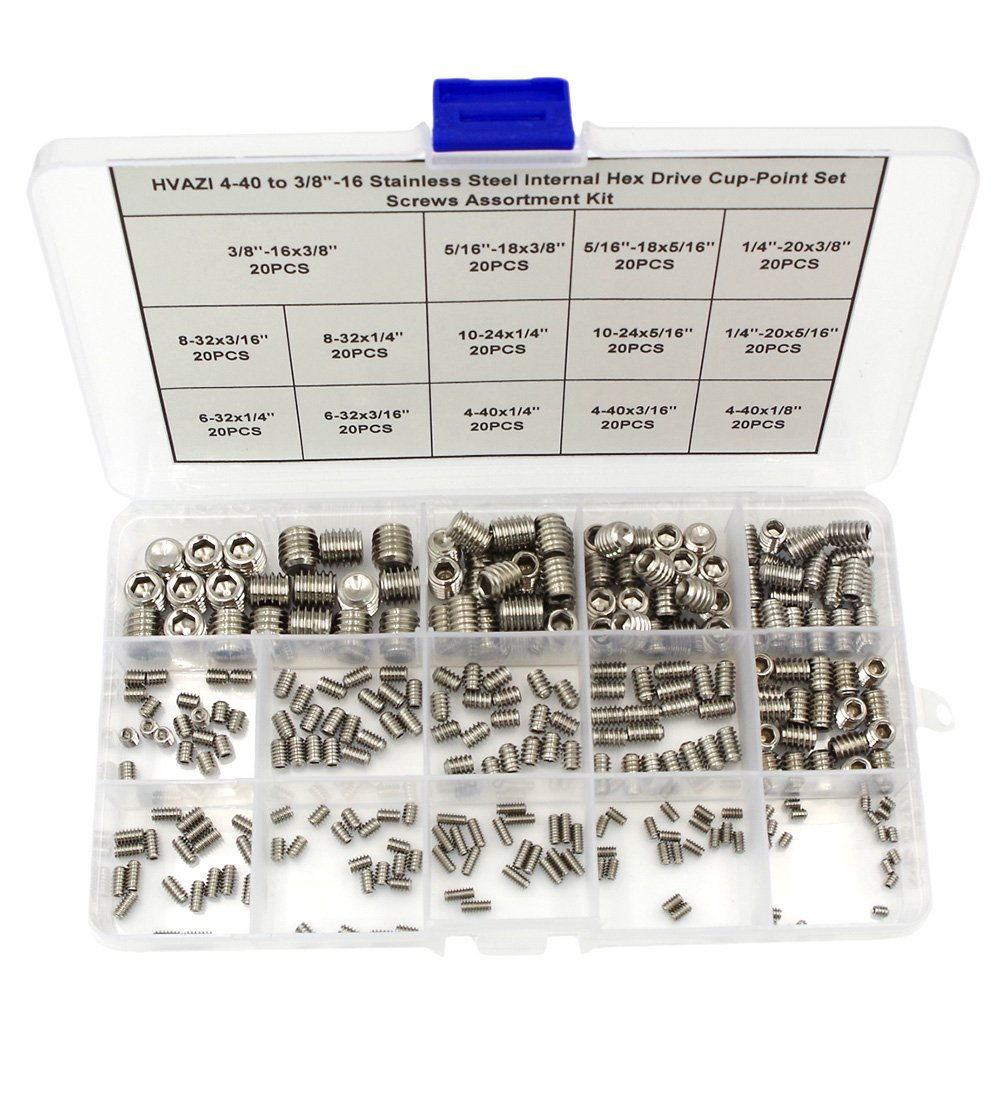 "HVAZI 4-40 to 3/8""-16 Stainless Steel Internal Hex Drive Cup-Point Set Screws Assortment Kit"