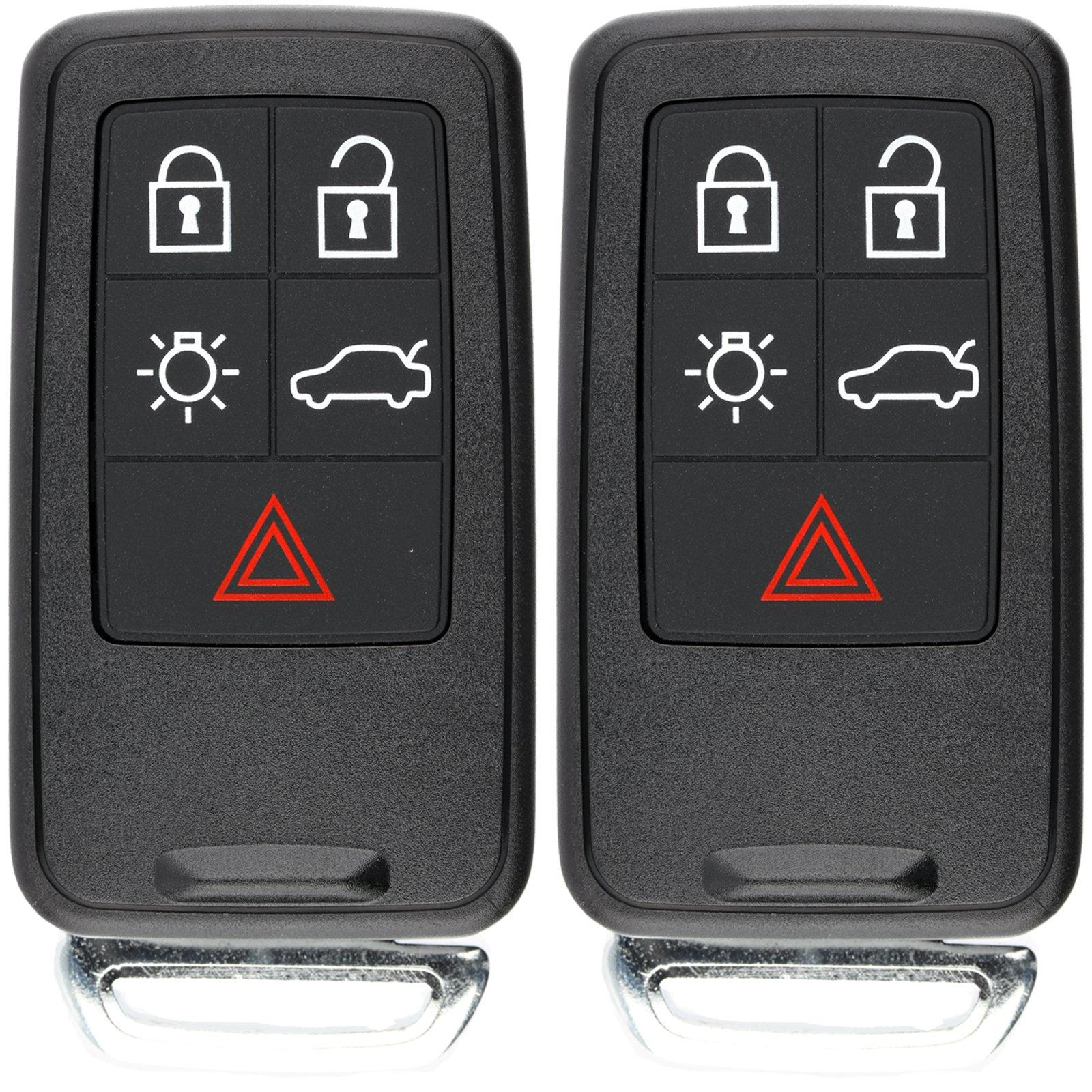KeylessOption Keyless Entry Remote Control Smart Car Key Fob Clicker Uncut Key Blade for Volvo KR55WK49264 (Pack of 2)