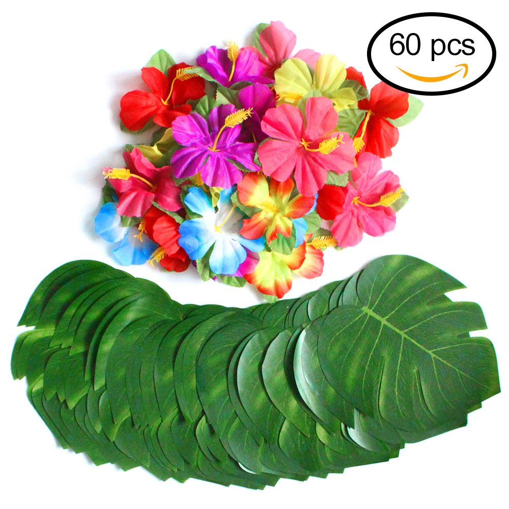 Buy subbuy hawaiian tropical beach party theme luau flower lei 60 pcs tropical party decoration supplies 8 tropical palm leaves and hibiscus flowers simulation leaf for hawaiian luau party jungle beach theme table izmirmasajfo