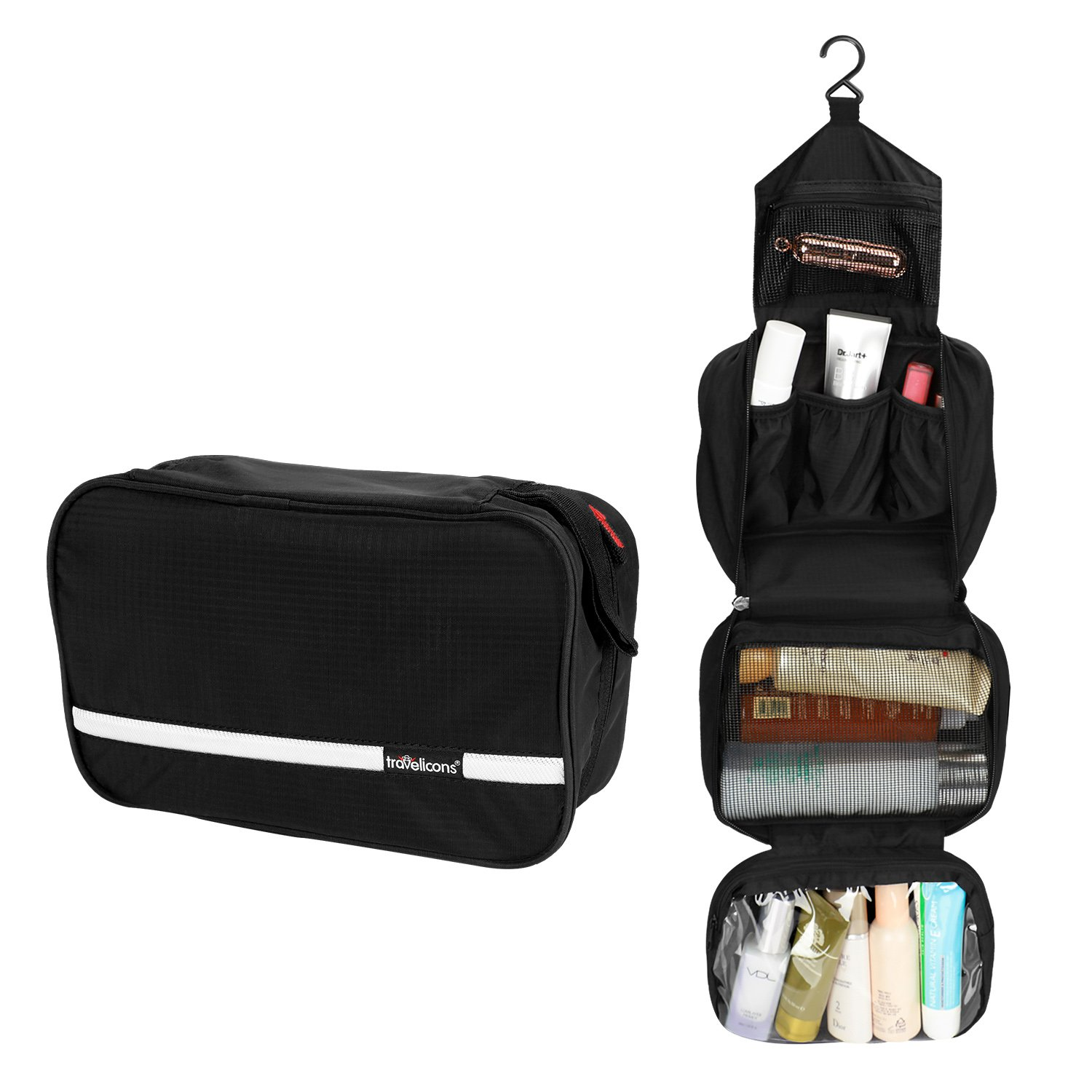 Coisum Hanging Travel Toiletry Bag for Men and Women | Foldable Waterproof Cosmetics Makeups Toiletries Organizer | Portable Travel Bag for Toiletries | 6.8L Sufficient Capacity (Black)