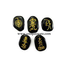 5 Piece Reiki Set Engraved Black Agate