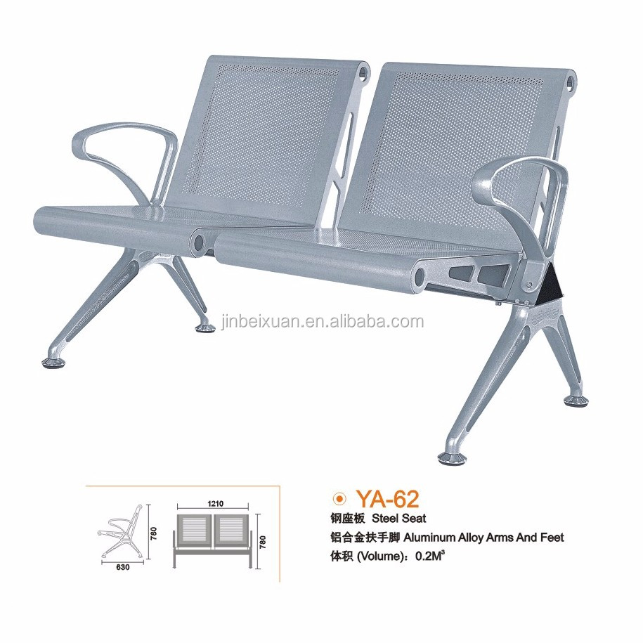 Public Occasion Waiting Chair Chrome Armrest Two Seater Bus