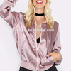 Wholesale Women Custom Bomber Jacket Without Padded Casual Pink Satin Windbreak Crop Tops Manufacturer price
