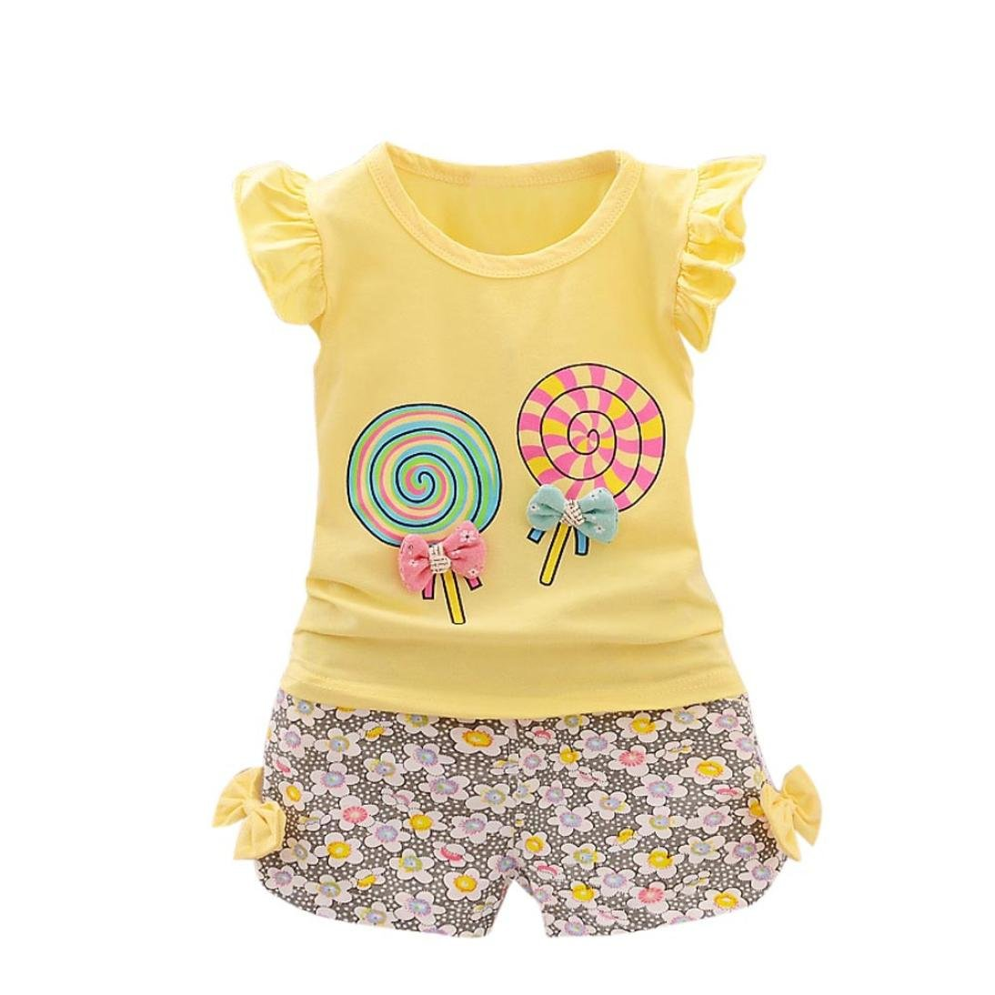 Forestime Toddler Kids Baby Cute Flower Girl Floral Short Sleeve Mini Princess Dresses Clothes