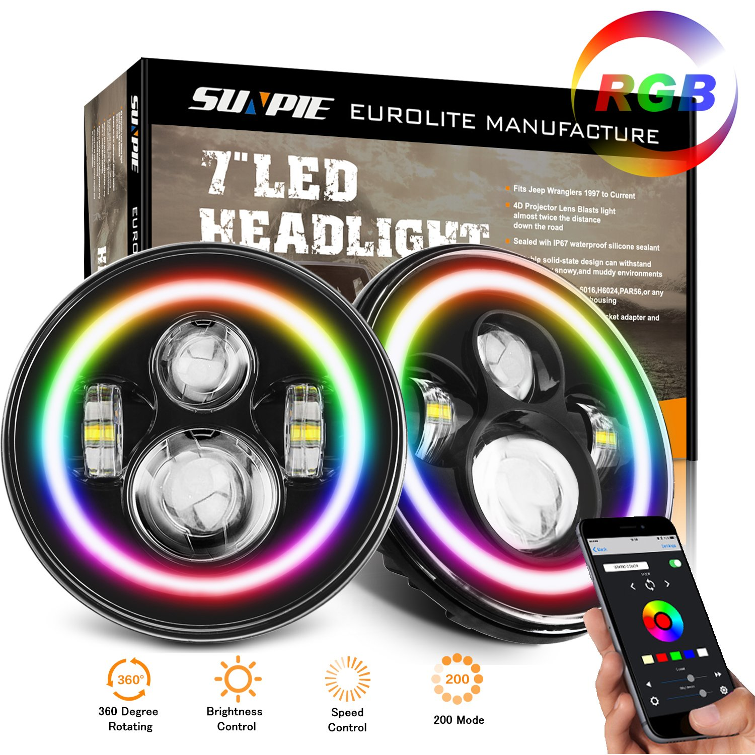 "Get Quotations · 7"" LED Headlight Lamp with Rotating RGB Halo Speech  Brightness adjustment Bluetooth Remote for 1997"