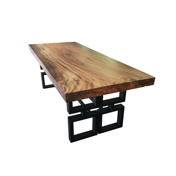 Dining Table Steel Legs Black Color Live Edge Wood Top Acaciawood Product On