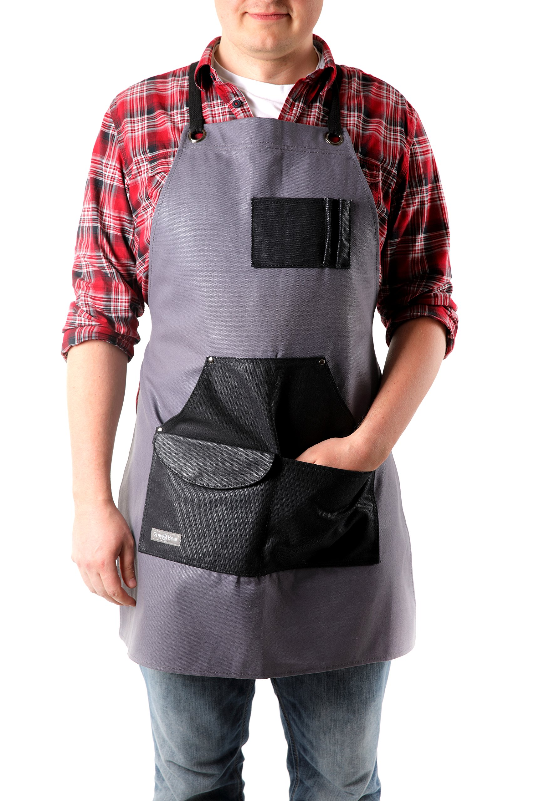 Gray Bear Waxed Canvas Work Apron | Utility Work Coverall w/ Built-In Pockets | Adjustable, Reinforced Straps | Versatile Workshop, Blacksmith, Carpenter| for Men & Women